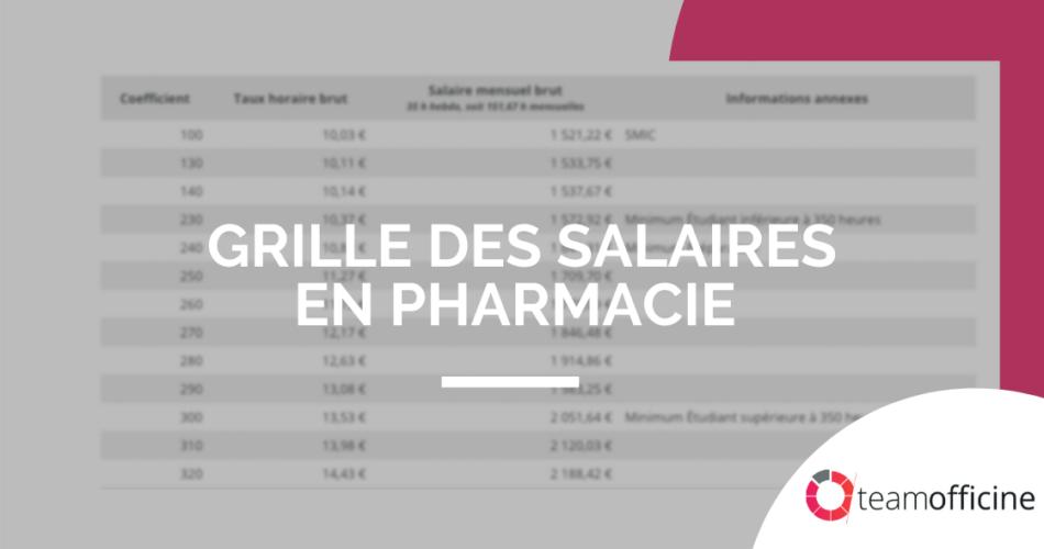 salaires en pharmacie 2020